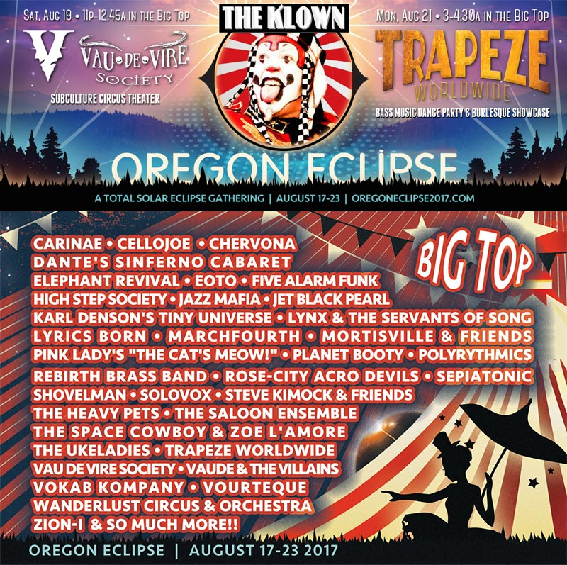 The Klown at Oregon Eclipse - with Vau de Vire Society on Saturday, August 19, and with Trapeze Worldwide on Monday, August 21