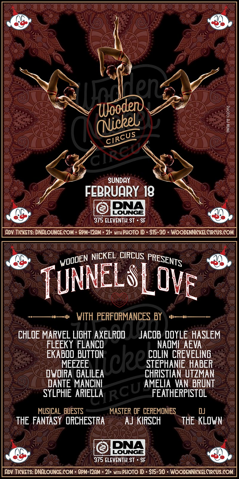 The Klown at Wooden Nickel Circus's Tunnel of Love - February 18, 2018, 8pm - DNA Lounge in San Francisco