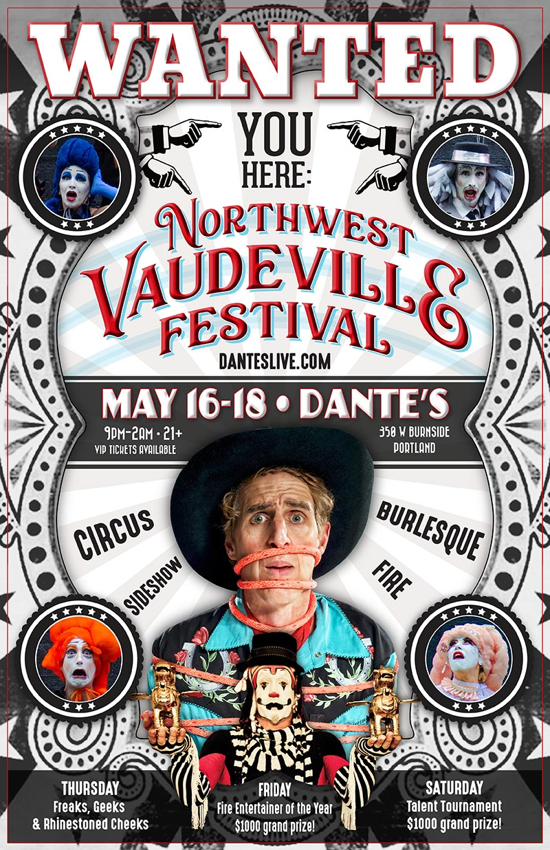 The Klown - DJ and Fire Judge at the first annual Northwest Vaudeville Festival - May 16-18, 2019 - Dante's in Portland, Oregon