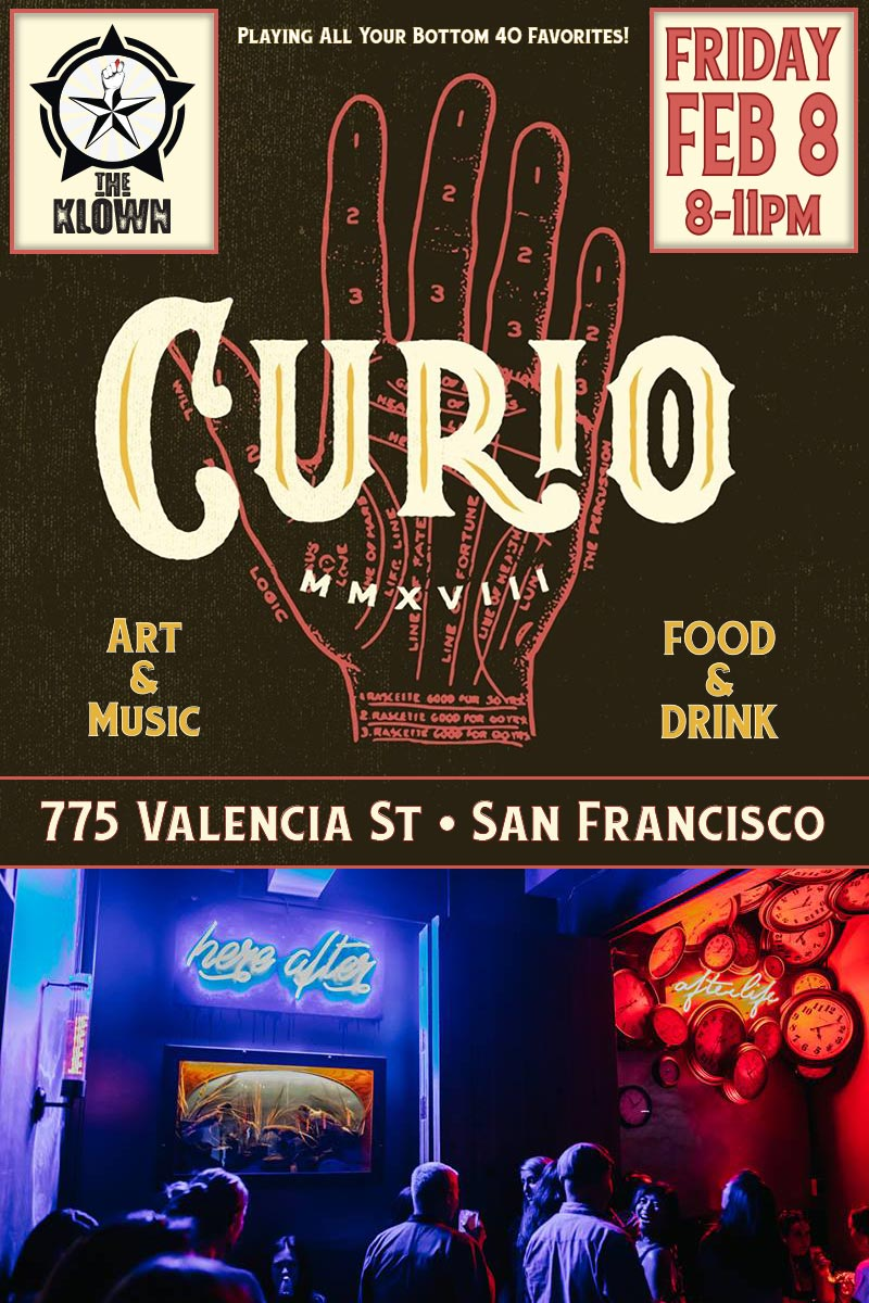 The Klown DJ's No-Request Friday at Curio Bar SF, February 8, 2019, 8-11pm in San Francisco