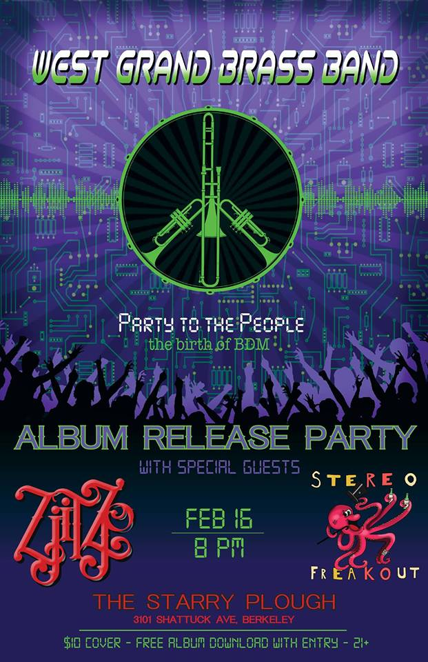 The Klown's ZjitZjo plays West Grand Brass Band's album release party - February 16, 2019 - The Starry Plough in Berkeley