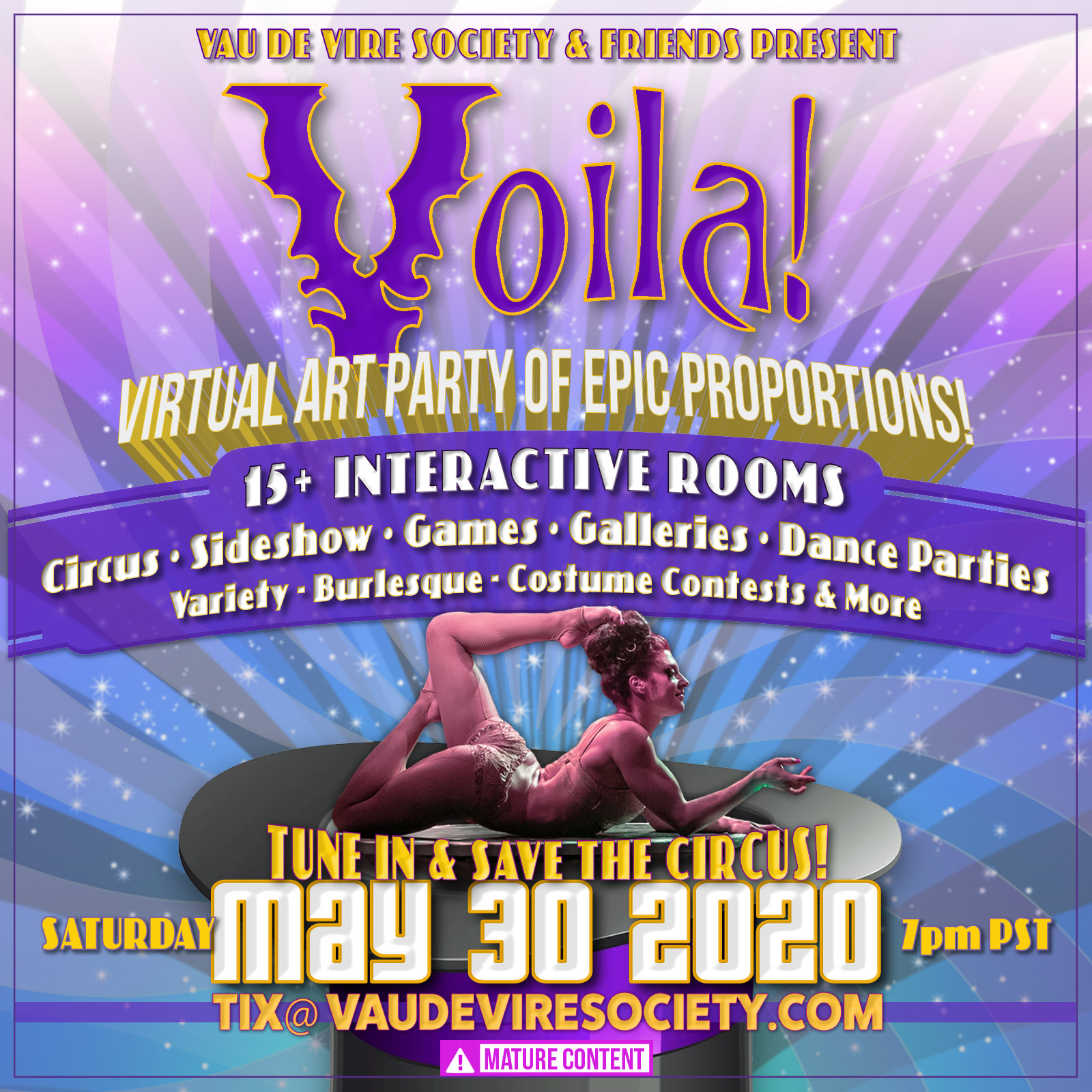 The Klown DJs and hosts the Bohemian Carnival room at 'Voila! Save the Circus!' - a Vau de Vire production - livestreaming May 30, 2020